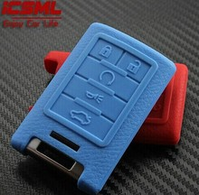BBQ@FUKA Multi-Color Leather Texture Remote Key Silicone Cover Fit for Cadillac ATS SRX STS CTS DTS Key Case 5 button