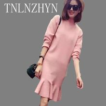 Buy TNLNZHYN 2017new fashion spring summer Women Knitted Fishtail dress elegant Pure color slim Big yards dress sexy dress femaleFS6 for $25.47 in AliExpress store