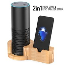 Bamboo Wood Charging Holder Speaker Stand Desktop Guard Station Dock For Amazon Echo Dot iPhone 7 6 6s Plus 5s SE other phones(China)