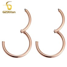 G23titan Rose Gold Color Small Hoop Earrings for Women Men Titanium 6-12mm Round Hinged Segment Circle Ear Piercing Jewelry(China)