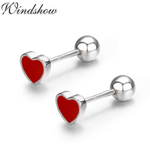 Cute Small Red Peach Heart 925 Sterling Silver Screw Stud Earrings For Women Girls Children Kids Jewelry Orecchini Aros Aretes(China)