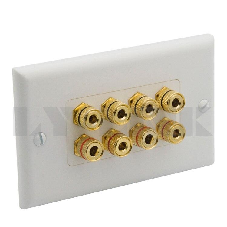 2x 8 Binding Post//2 Speaker Banana Jack Audio Surround Sound Wall Plate White
