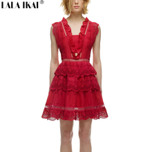 Brand Design 2016 New Embroidery Tiered Peplum Lace Mini Dress Women Ruffles Backless Tunic Dresses Lady Red Vestidos QWA0894-4
