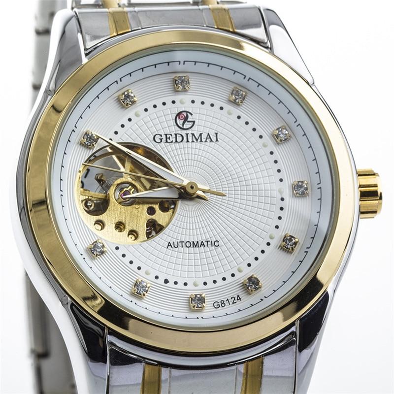 2017 GEDIMAI Brand Watches men waterproof calendar Hollow steel belt waterproof mens automatic mechanical watch<br>