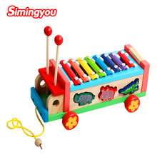 Simingyou Montessori Children 'S Educational Early Childhood Wooden Toys Multi - Purpose Animal Cartoon Hand Knocking Piano SG09