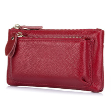 TOP Layer Cowhide Wallets Women Long Large Capacity Ladies Wallet Double Zipper Clutch Purse Pure Cow Leather Made Bag QB158