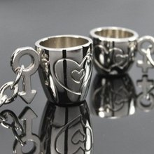 1 Pair New Couple Cute Double Cup Keychain Ring Keyring Key Chain Lover Romantic Creative Wedding Gift