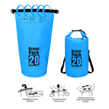 10L/20L Waterproof PVC Storage Dry Sack Bag Pouch Beach Outdoor Storage Bag Foldable Swimming Bags for Canoe Kayak Rafting