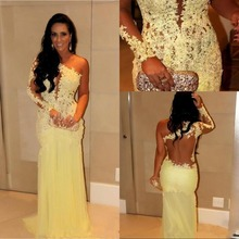 2017 Light Yellow One Shoulder Long Sleeves Floor Length Evening Dress With Lace Applique Beads Prom Dress robe de soiree WT030