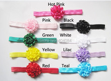 NEW colorful artificial flowers headbands 2inch satin flower headband  hair accessories 30pcs/lot