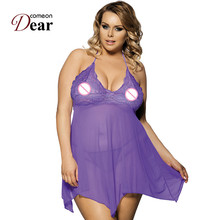 Comeondear Women's Sexy Nightwear Fashion Lace Transparent On Sale Sex Clothes RB7130 Purple Deep V-Neck Babydoll Lingerie Sexy(China)
