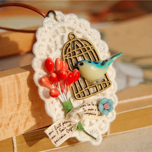 Cute Blue Bird Necklace Decorative Copper Bird Cages Wedding Red Berry White Lace Handmade Long Pendants Necklace nxl004