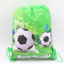 Soccer Cartoon Non-Woven Fabric Drawstring Bags Football Backpack Baby Shower Happy Birthday Party Decoration Kids Supplies