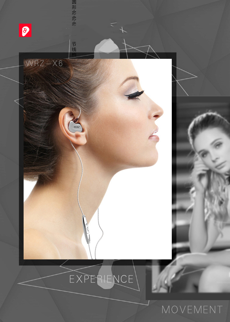 Newest 100% Original WRZ X6 Subwoofer In Ear Earphone Sports HIFI Bass DJ Earphones Headset with Mic for IPhone 7 7s xiaomi