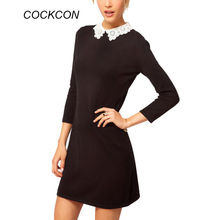 Black Dress White Collar Summer Cute Peter Pan Collar School Preppy Style Dresses Vestidos Femininos S M L XL(China)