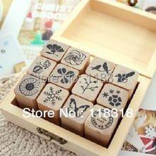 Special offers,(1 Lot=3 Pcs) DIY Scrapbooking Vintage Flowers Stamp Wooden Box  Birds Stamps Decoration Stamp Set