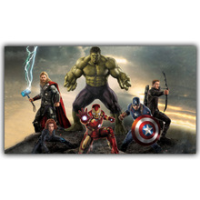 Marvel Comics Hulk Captain America Iron Man Thor Hawkeye Black Widow The Avengers Movies Superheroes Silk Print Poster DY1086