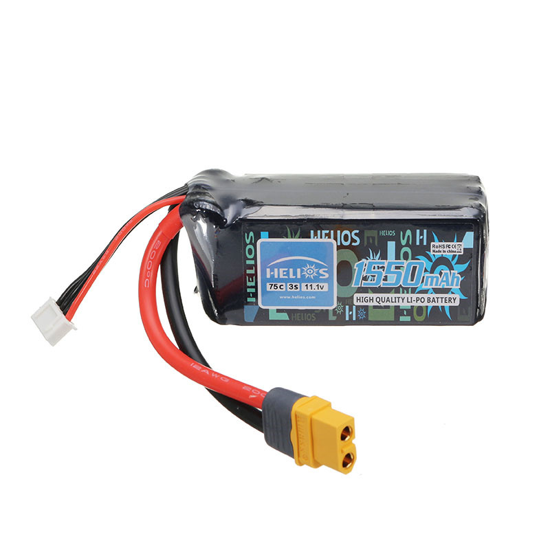 Helios 11.1V 1550mAh 3S 75C Rechargeable Lipo Battery XT60 Plug For for FPV RC Drone<br>