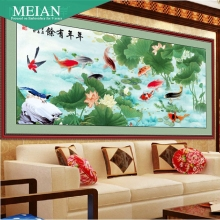 DIY Craft 2016 New 11CT 3D Cross Stitch Chinese Style Fish Standing For Rich for Decoration of Living Room or Gift(China)