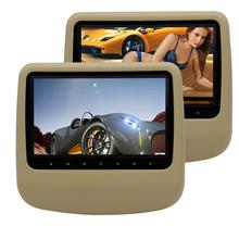 Car Headrests DVD Players 9 inch Twin Mobile Car pc cd DVD Players IR/FM Transmitter Support USB/SD/HDMI Port for Video Playing