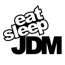 15*12CM EAT SLEEP JDM Funny Humor Car Sticker Decal Motorcycle Car Styling Black/Silver C1-0095