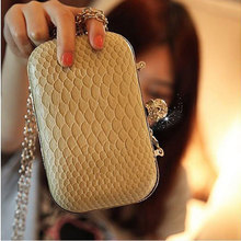 Women handbag 2016 serpentine skull clutch evening bag cross-body small mobilephone casual bag handbags designers brand