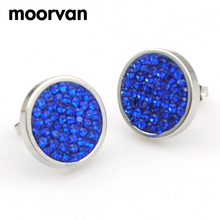 Moorvan earring for women,stainless steel jewelry round shining rhinestone crystal earrings,stud ear charm color,lady gift