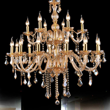 Modern Luxury LED Crystal Chandeliers for dining/living room,3/6/8/10/12/15/18 arm candle amber crystal Chandelier light fixture