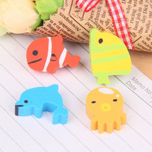 Free Shipping 4 pcs/lot (1 bag) Creative Kawaii The Underwater World Rubber Eraser For Pencils School Supplies(China)