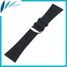 Silicone Rubber Watch Band 30mm Universal Watchband Stainless Steel Pin Clasp Strap Wrist Loop Belt Bracelet Black + Spring Bar