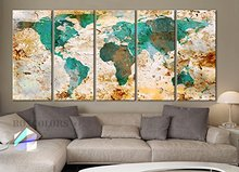 5 Panels 30x14 Ea Art Canvas Print World Map Original Watercolor Texture Old Wall Design Home Office Decor Green ( Framed)