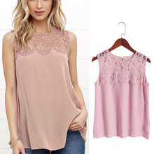 Buy 2017 Summer Women Vest Lace Chiffon Blouse Tops Sleeveless Tank Fashion Chemise Shirts Office Lady New Fashion O-neck Tops for $3.90 in AliExpress store