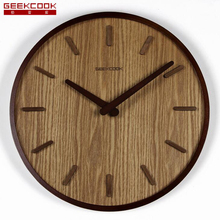 Large 14 inch Wooden Wall Clock Classic Quartz Wall Watch for Living Room