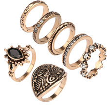 Yunkingdom 7pcs/Set Bohemian Vintage Punk Antique Gold-Color Resin Finger Rings for Women Bohemian Ring Set Fashion Jewelry