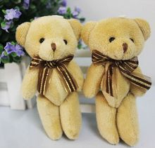 12cm  Lovely Teddy bear plush toys small doll bears Kids Baby Dolls for wedding cartoon flower bouquet christmas Promotion Gifts