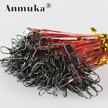 Anmuka 20 pcs green/black/silver/red/brown fishing lead line/wire connect circle swivel for braid ice fish conductor superacids(China)