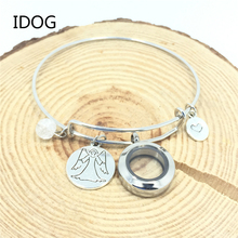 Pet Memorial Alloy Bracelets Glass Boxes Collection Dogs & Cats Photo Hair Angel Fringe Pendant Nostalgia for Dogs Cats(China)