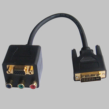 DVI-I 24+1 Male to VGA / RCA RGB Component Dual Female Y-Splitter Adapter Cable, YS-022