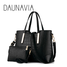 2016 women handbag leather hand bag michael crocodile crossbody bag shoulder messenger bags clutch tote+purse 2 sets sac ND109