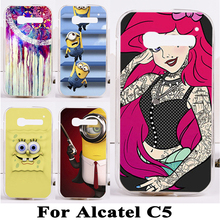 Soft TPU Hard Plastic Pop C5 Phone Cases For Alcatel One Touch onetouch pop c5 5036 OT5036 5036D Case Shell C5 Back Cover Shell