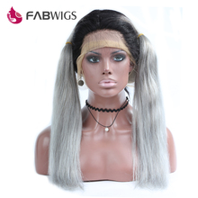 Fabwigs Ombre Grey Glueless Full Lace Wig with Baby Hair 130% Density T1B Grey Brazilian Human Hair Wig Remy Hair Free Shipping(China)