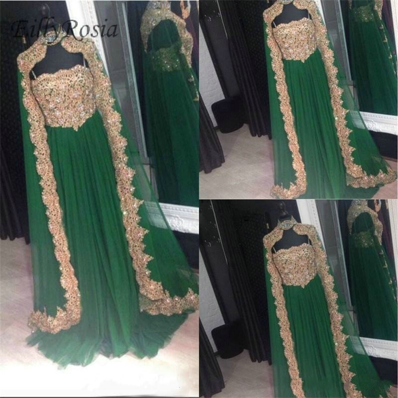 Emerald Green Arabic Evening Dresses with Cape Moroccan Kaftan Crystal Beading Gold Appliques Muslim Evening Gowns Turkish Women