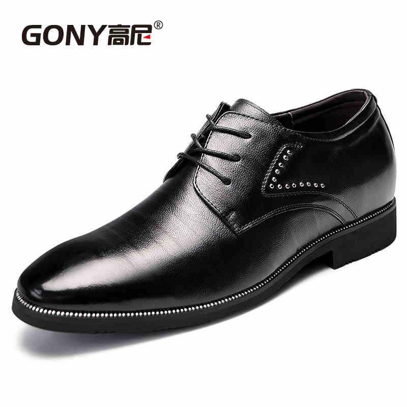 Male leather elevator genuine leather business formal leather elevator male lacing mens elevator 6cm <br><br>Aliexpress