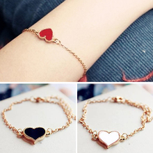 Brand New Vintage Style Women Bracelet Fashion Sweet Heart Four-leaf Clover Gold Plating Bracelet For Woman 3 Colors