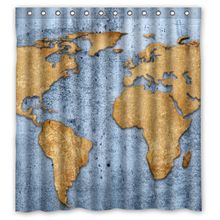 Retro World Map Blue Sea Custom Unique Waterproof Shower Curtain Bathroom Products Curtains Size 48x72,60x72,66x72 Inches