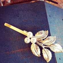 Cindiry Pearl Hair Clip Accessories Gold Leaves Hairpin Girl Classic Greek style Vintage Side Clip Leaves Hairwear P3