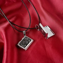 2016 Valentine's Day Leather Heart Rose can open put picture Lovers Pendant Chain Clavicle Necklace For Women(China)