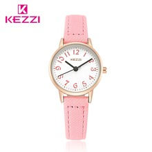 Fashion KEZZI Brand Lovely Children Watches Girls' Daily Waterproof Leather Cartoon Watch Quartz Wristwatches For Girls k1564(China)