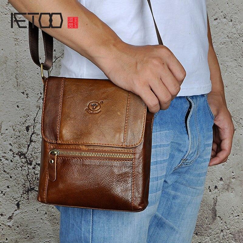AETOO Designer Small Messenger Bag Luxury Genuine Leather Men Bag Male Vintage Flap Shoulder Crossbody Bags Men Phone Bag<br>