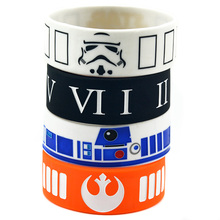 Promo Gift 25PCS/Lot Bulk Cheap Star Wars Mix Stormtrooper Mask, R2-D2, Rebel Alliance Silicone Wristband